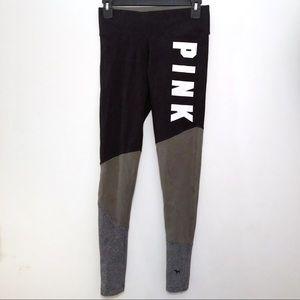 VS PINK Yoga Logo Olive Black Colorblock Leggings